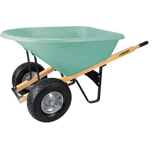 BRENTWOOD INDUSTRIES Dual Tire, Poly Tray Wheelbarrow, No Flat Wheel, 8 cu ft