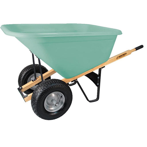 BRENTWOOD INDUSTRIES Dual Tire, Poly Tray, Wheelbarrow, Pnuematic Wheel, 10 cu ft