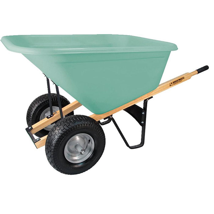 BRENTWOOD INDUSTRIES Dual Tire, Poly Tray, Wheelbarrow, No Flat Wheel, 10 cu ft