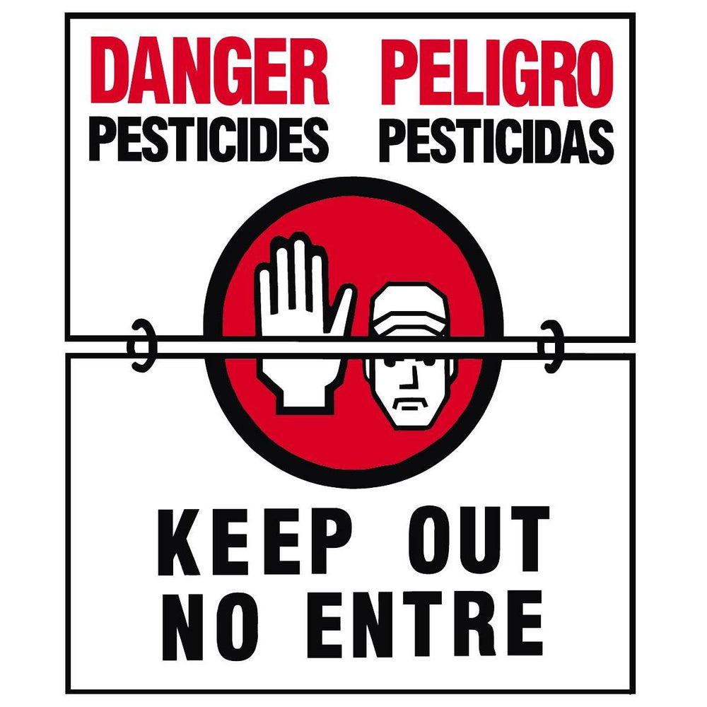 "GEMPLER'S Hinged WPS Bilingual Warning Sign - ""Danger - Pesticides"""