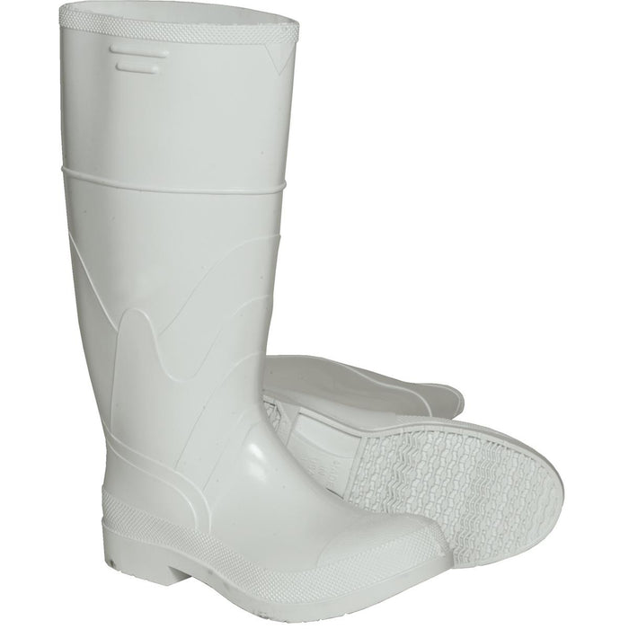 "Dunlop White PVC Boots, 16""H, Steel Toe"