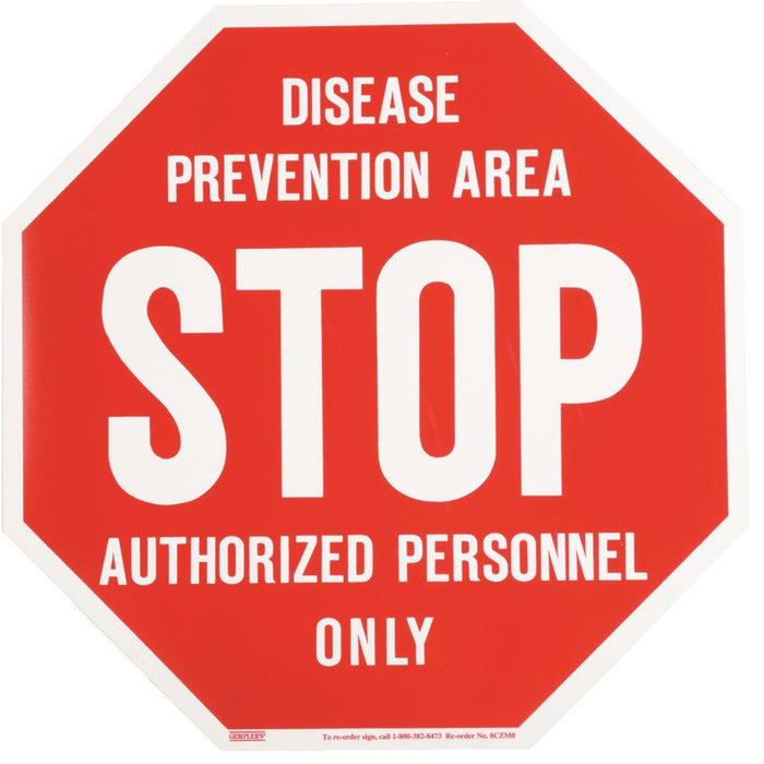 Voss Signs Disease Prevention Area Biosecurity STOP Sign