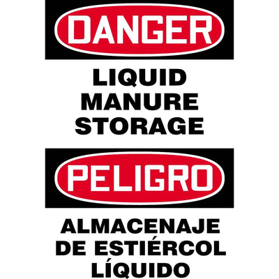 """Danger - Liquid Manure Storage"" Bilingual Warning Sign"