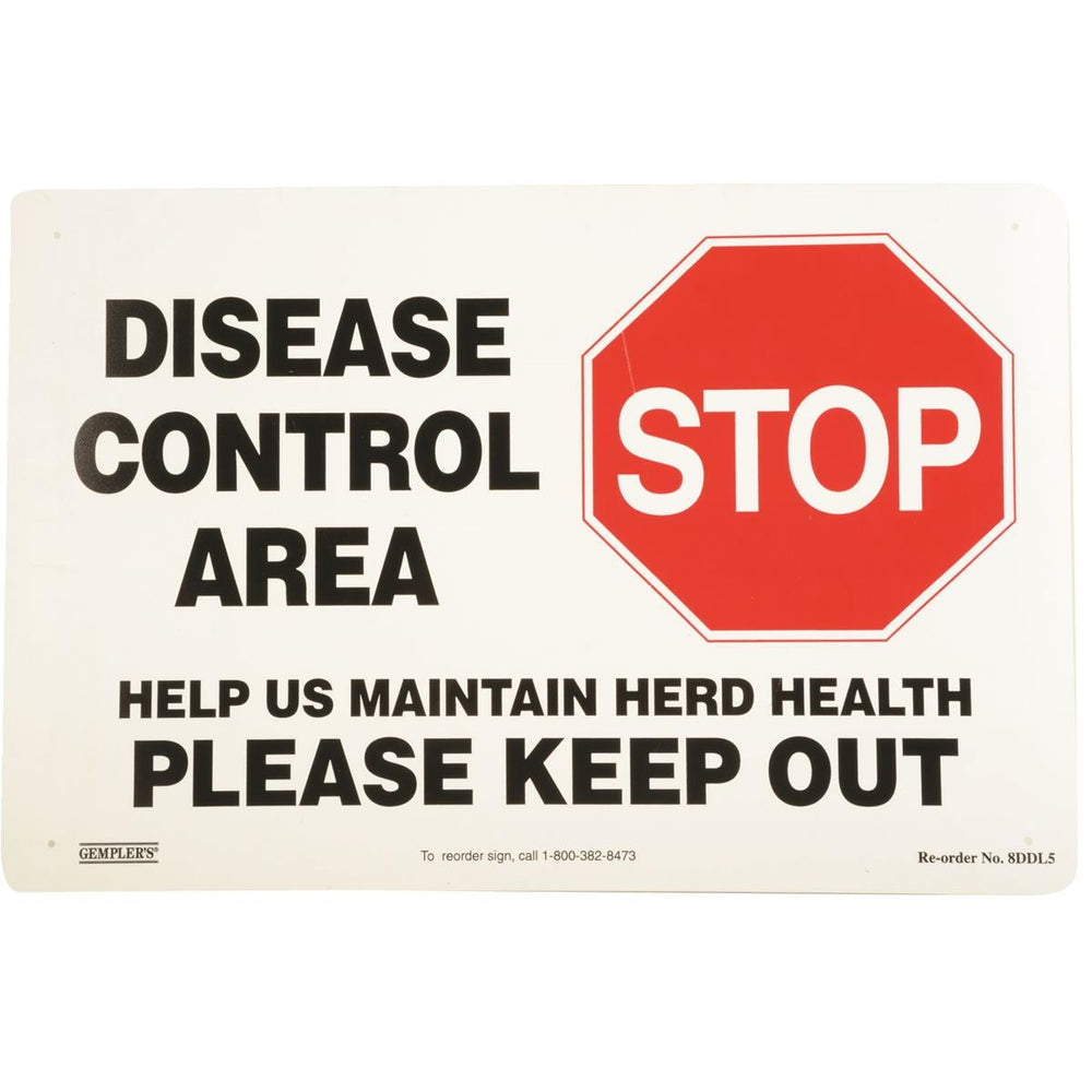 """Disease Control Area"" Biosecurity Sign"