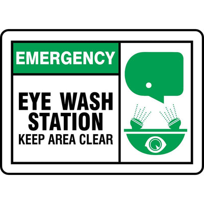 """Emergency Eye Wash Station..."" Graphic Alert Sign"