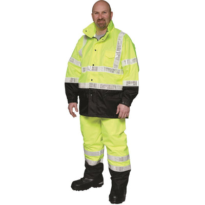 ANSI Class 3 High-Visibility Black-Bottom Rainsuit