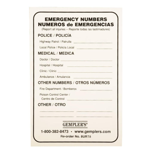 GEMPLER'S® Self-adhesive, Required Emergency Information Sign