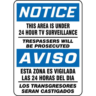 Bilingual This Area Is Under 24 Hour Surveillance... Sign