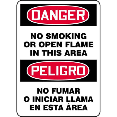 Bilingual Danger / No Smoking Or Open Flame In This Area Sign