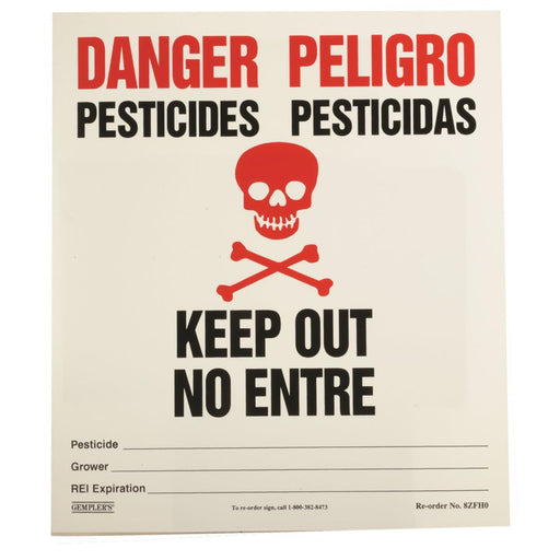"GEMPLER'S 14""W x 16""H California Pesticide Warning Sign"