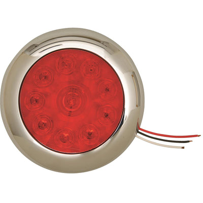 Red Round Tractor/Trailer Tail Light With Chrome Face