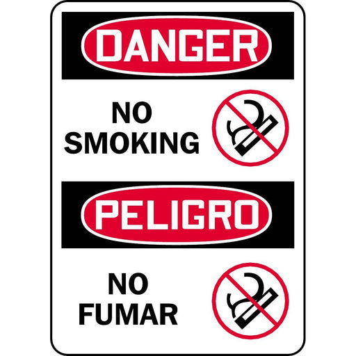 Bilingual Danger / No Smoking Sign