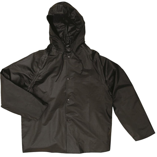 "Tri Weave® FR 30""L Hooded Rain Jacket, Black"