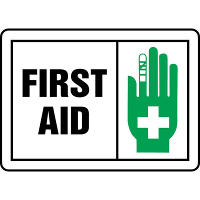 """First Aid"" Graphic Alert Sign"
