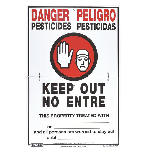 "GEMPLER'S Hinged WPS Bilingual Warning Sign with Application Data - ""No Trespassing"""