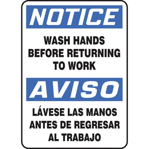 "Bilingual ""Wash Hands Before Returning To Work"" Notice Sign"