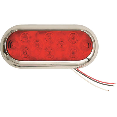 Red Oval Tractor/Trailer Tail Light With Chrome Face