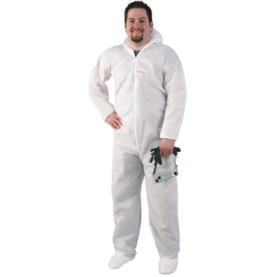 Hooded Coveralls With Elastic Wrists and Built-in Booties