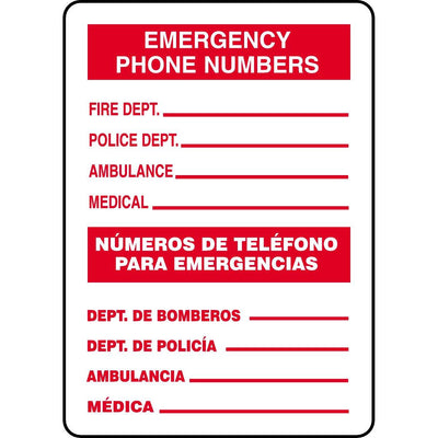 Bilingual Emergency Phone Numbers Sign