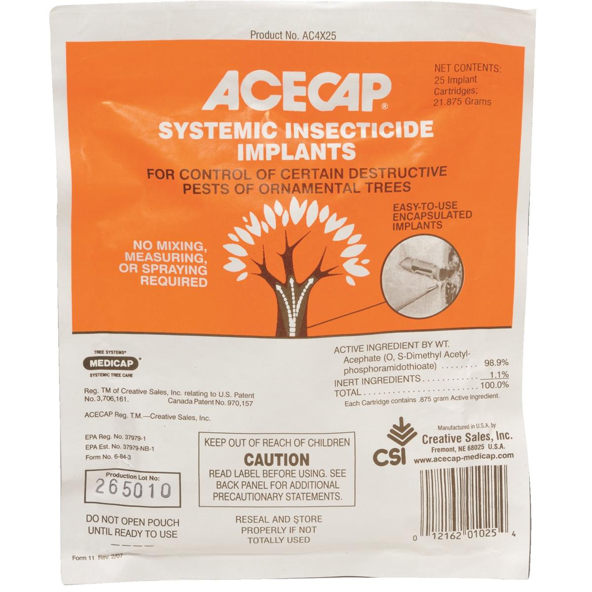 Acecap 25-Pack Systemic Insecticide Tree Implants for Control of Tree Pests,
