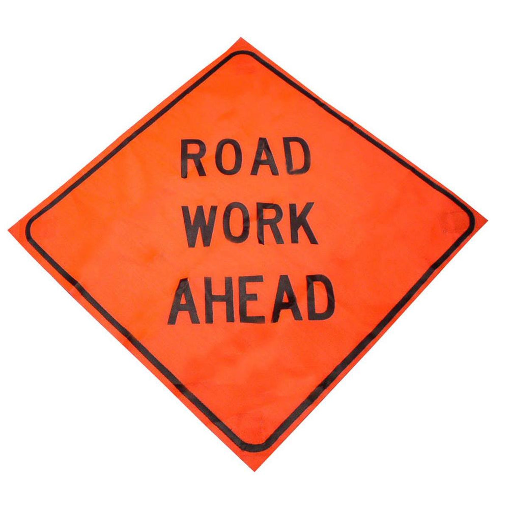 """Road Work Ahead"" Roll-up Traffic Control Sign"