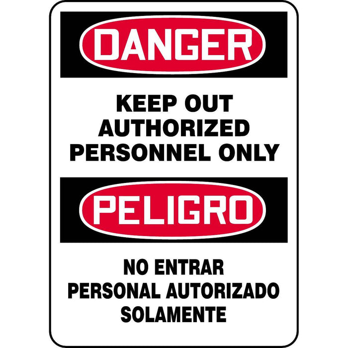 Bilingual Danger / Keep Out Authorized Personnel Only Sign