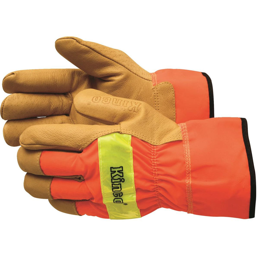 KINCO INTERNATIONAL High-Visibility, Pigskin Gloves with Safety Cuff