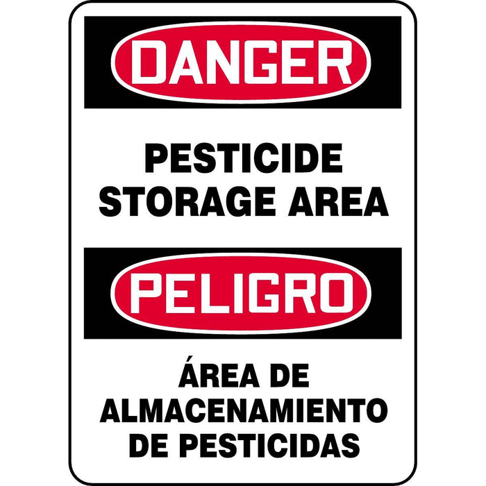"""Danger - Pesticide Storage Area"" Bilingual Warning Sign"