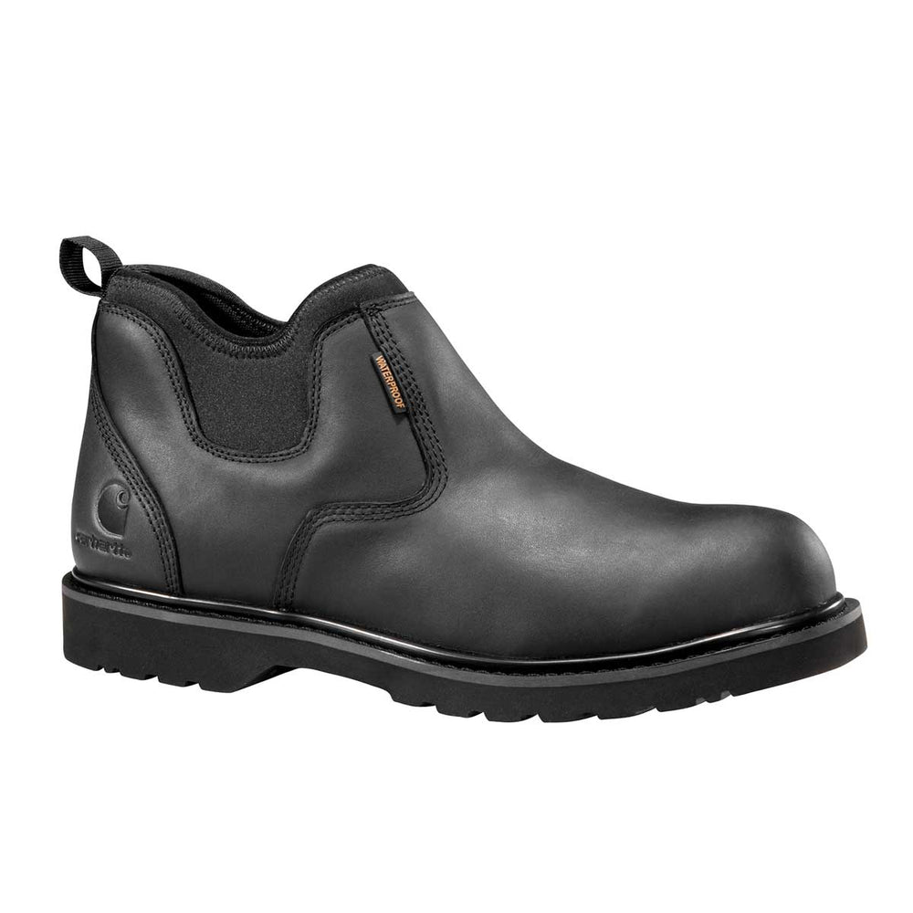 "Carhartt 4"" Slip On Black Plain Toe Boot"