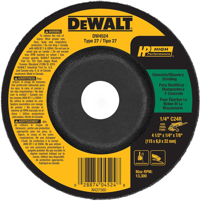 DeWalt 4-1/2 x 7/8 In. HP Type 27 Masonry Grinding Wheel