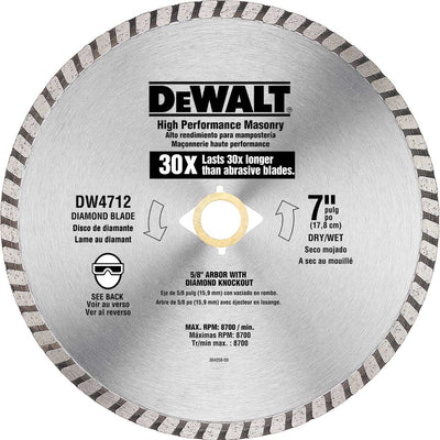 DeWalt 7 In. HP Turbo Diamond Masonry Saw Blade