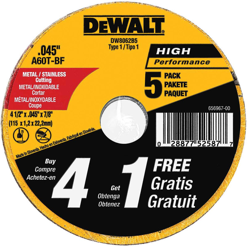 "DEWALT 4-1/2""x.045x7/8"" Metal Thin Cut 5PK"