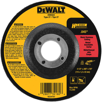 DeWalt 4-1/2 x 7/8 In. HP Type 27 Metal Cutting Wheel