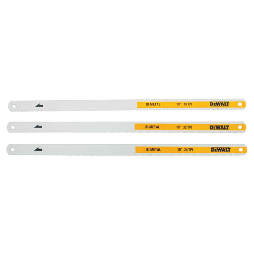 DEWALT 10in 18, 24 and 32-TPI Bi-Metal Hacksaw Blade (3-Pack)