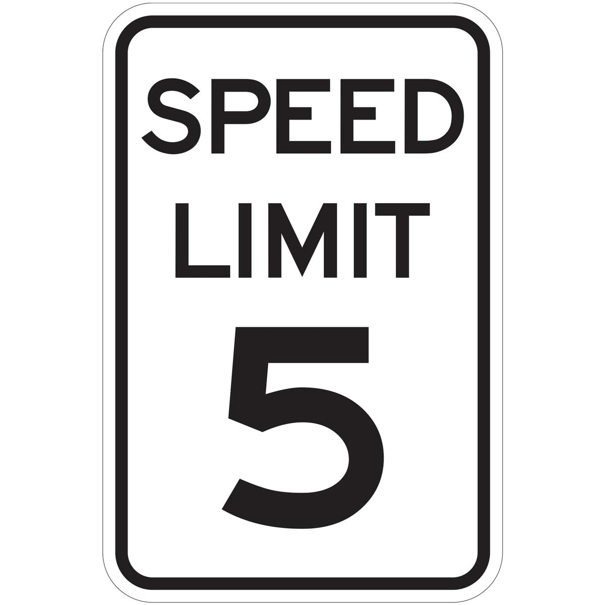 """Speed Limit 5"" Aluminum Traffic Control Speed Limit Sign"