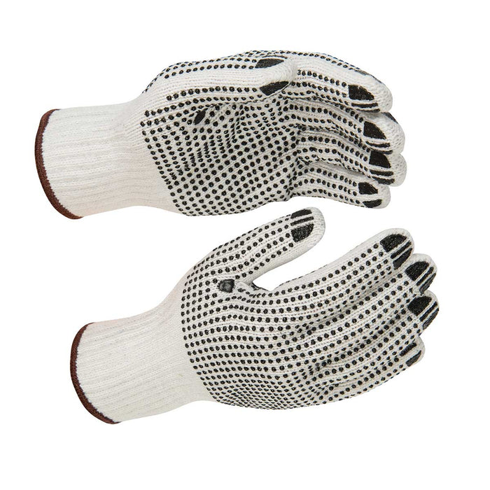 Kinco White Poly-Cotton Knit Gloves with PVC Dots