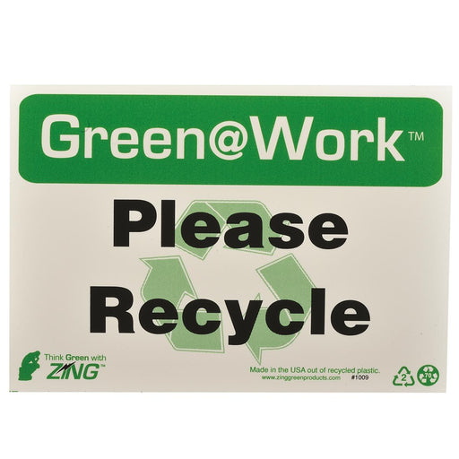 "Zing Green@Work® ""Please Recycle"" Recycling Sign"