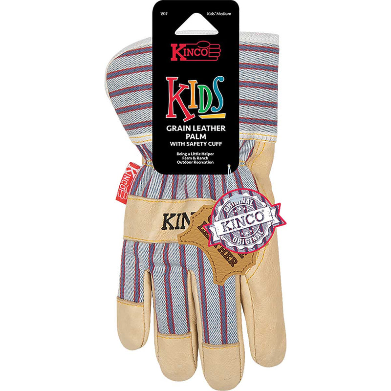 Kinco Kid's Premium Grain Pigskin Palm  Glove with Safety Cuff