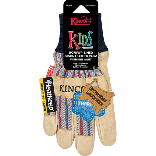 Kinco Kid's Lined Premium Grain Pigskin Palm Glove with Knit Wrist