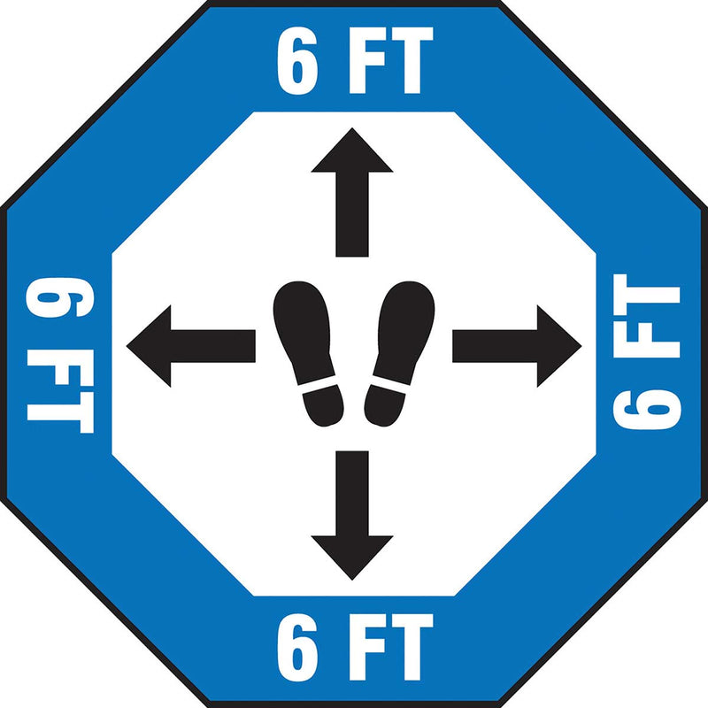 Slip-Gard™ Floor Sign: 6 ft Footprint with Arrows Image