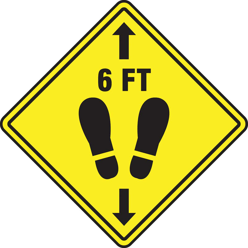 Slip-Gard™ Floor Sign: 6 ft with Footprint Image, Yellow