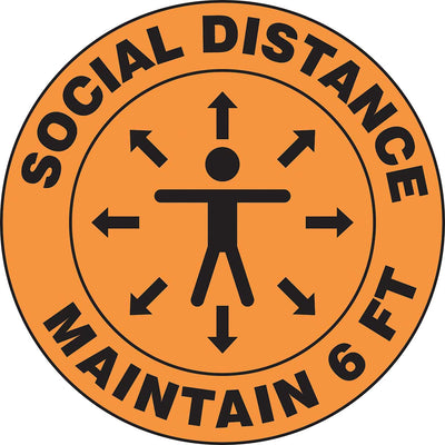 Slip-Gard™ Floor Sign: Social Distance Maintain 6 ft (Person image) - 12""