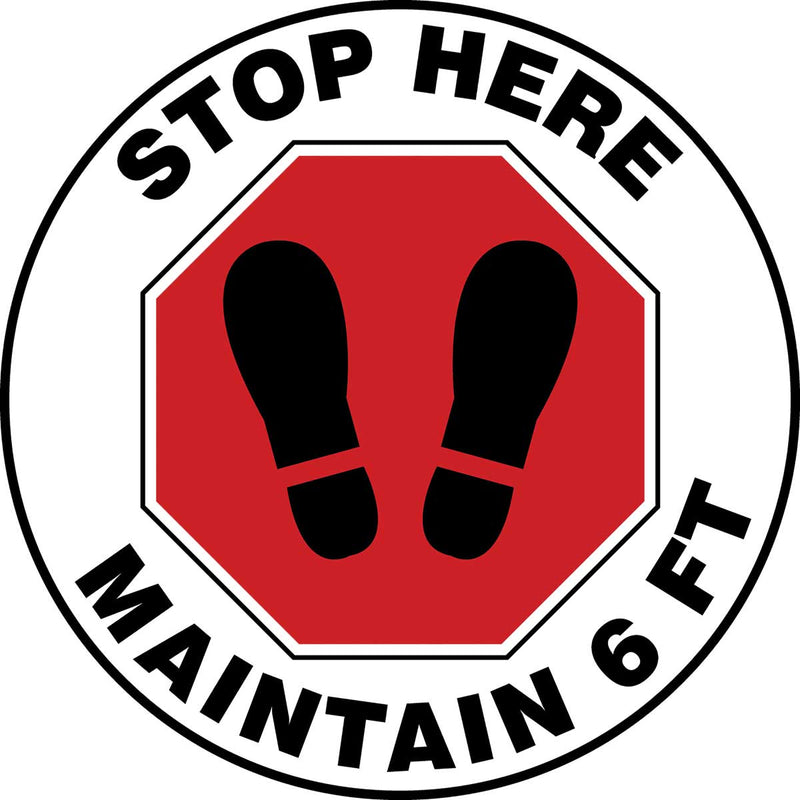 Slip-Gard™ Red/White Floor Sign: Stop Here Maintain 6 ft - 12""