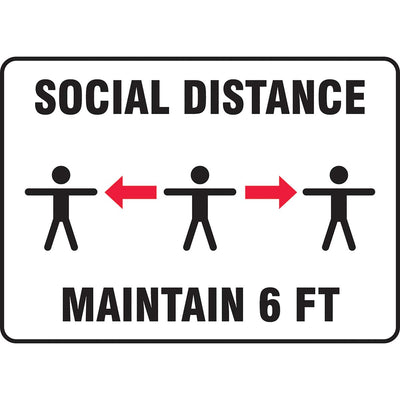 "Safety Sign: Social Distance Maintain 6 FT (Three person image) 10"" x 14"""