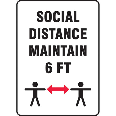 "Safety Sign: Social Distance Maintain 6 ft 14"" x 10"""