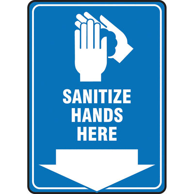 "Safety Sign: Sanitize Hands here 14"" x 10"""
