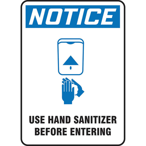 "OSHA Notice Safety Sign: Use Hand Sanitizer Before Entering 14"" x 10"""