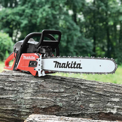 "Makita 56cc 20"" RIDGELINE Chainsaw, 3/8"", .050, Safety Red"