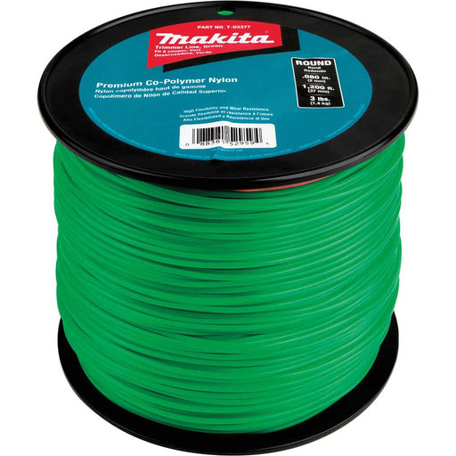 "Makita Round Trimmer Line, 0.080"", Green, 1,200', 3 lbs."