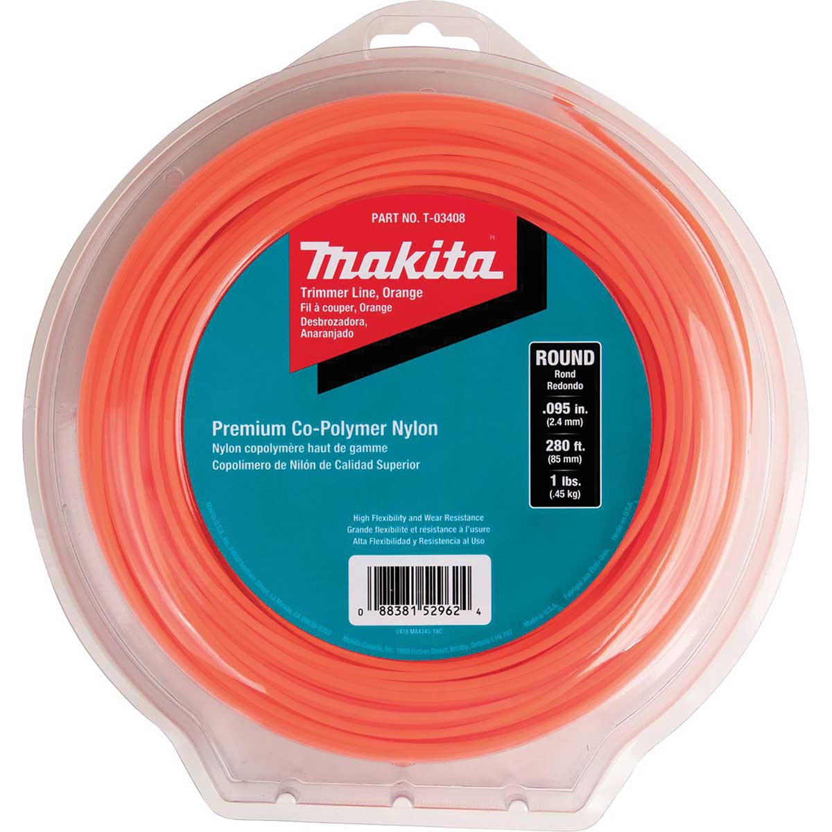 "Makita T-03408 Round Trimmer Line, 0.095"", Orange, 280 ft, 1 lbs."